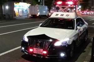 A typical Toyota Crown police vehicle in Japan