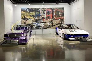Two zokushas being displayed at Petersen Automotive Museum