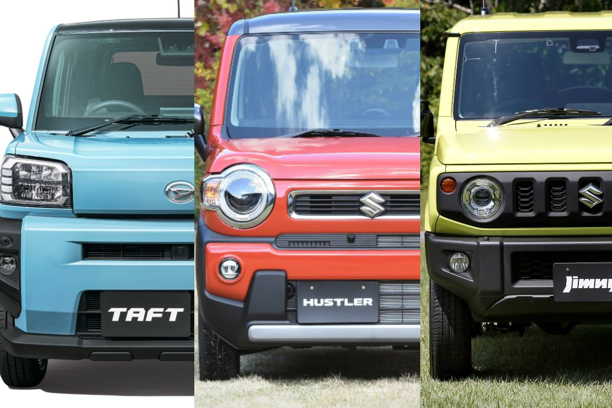 The three compact off-roaders from Japan, the Taft, Hustler, and Jimny