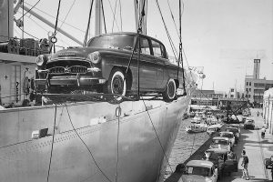 An US-spec Crown being loaded on a ship, 1958