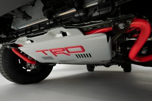 Photo showing a skid plate under the new Tundra
