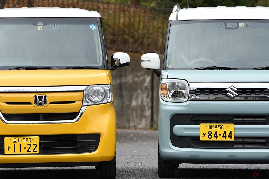 軽自動車の人気車種、ホンダ「N-BOX」(左)とスズキ「スペーシア」。