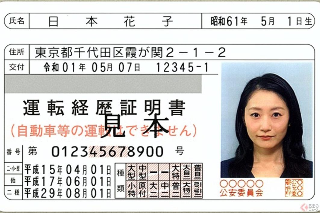 運転免許証を返納した際に発行される「運転経歴証明書」