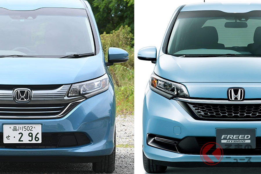 マイナーチェンジしてデザインが変わったホンダ「フリード」(左:従来モデル、右:新型モデル)