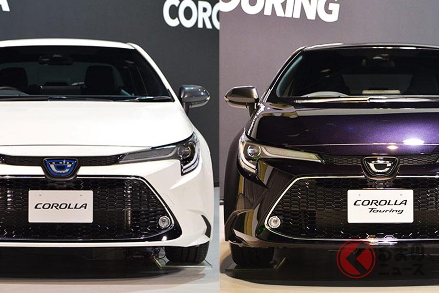 トヨタの新型「カローラ(左)」と新型「カローラツーリング(右)」