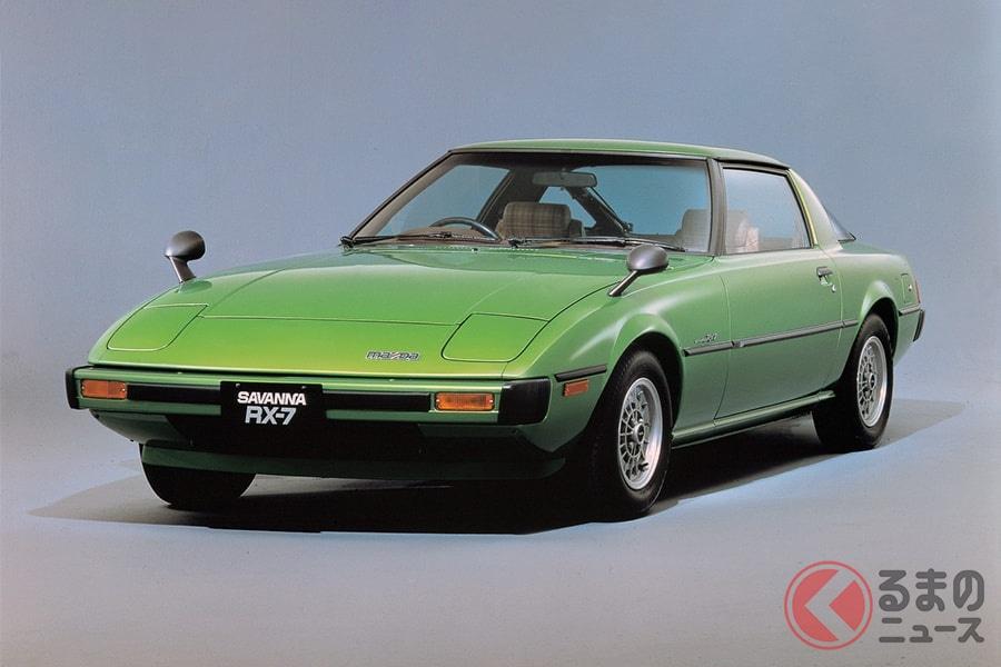 低いボンネットでスポーツカーの王道を行くデザインのマツダ「サバンナRX-7」