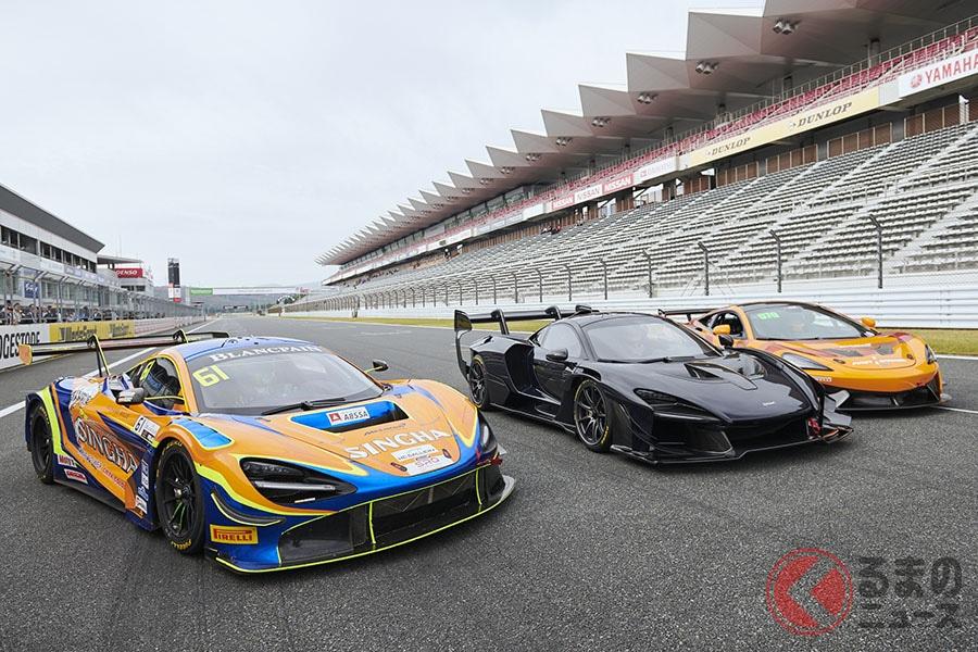 公式イベントとしては初めて、「セナGTR」「720GT3」「570S GT4」が一同に集まった
