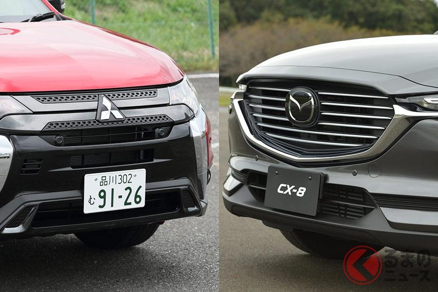 3列シートのガソリン車と2列シートのPHEV車を設定している三菱「アウトランダー」と全車に3列シートを設定するマツダ「CX-8」