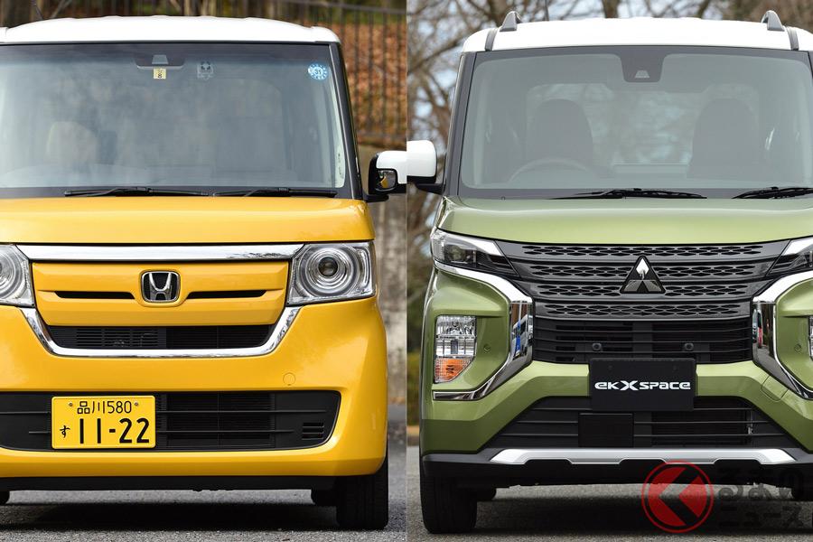 ホンダ「N-BOX」(写真右)と三菱新型「eKクロススペース」(写真左)