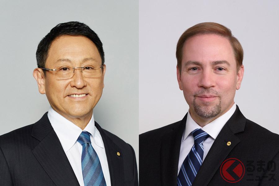 豊田章男氏(写真左)とジェームス・カフナー氏(写真右)