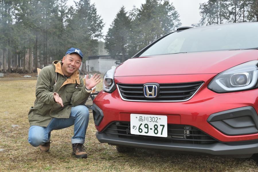 Honda 新型「フィット」 クロスター をお笑いタレント「バイきんぐ西村」が体験! キャンプマニアはどう評価した?