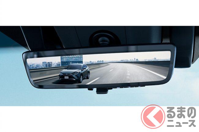 トヨタ新型ハリアーに採用される「デジタルインナーミラー」。Sグレード以外には標準装備。
