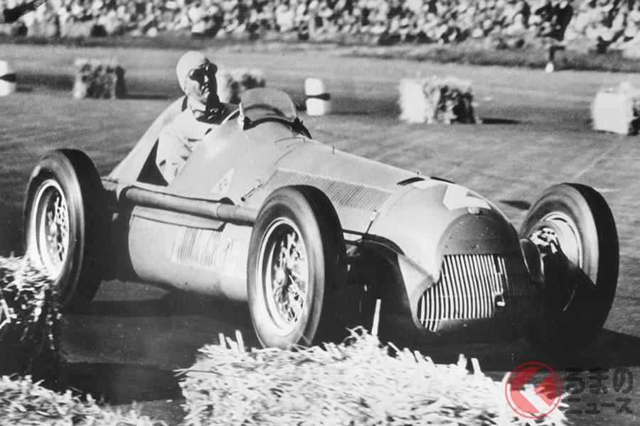 F1初開催の第1戦イギリスGPで優勝したジョゼッペ・フェリーナが乗るアルファ ロメオ158