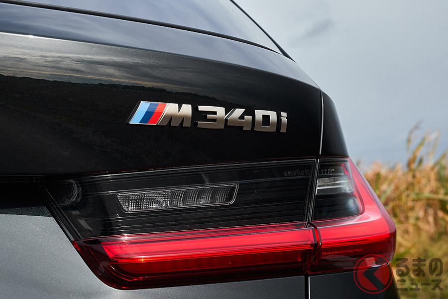 ドイツのメルセデス・ベンツ、、BMW、アウディの3ブランドのモデル名は、数字と記号で表される。写真はBMW「M340i xDrive」のエンブレム