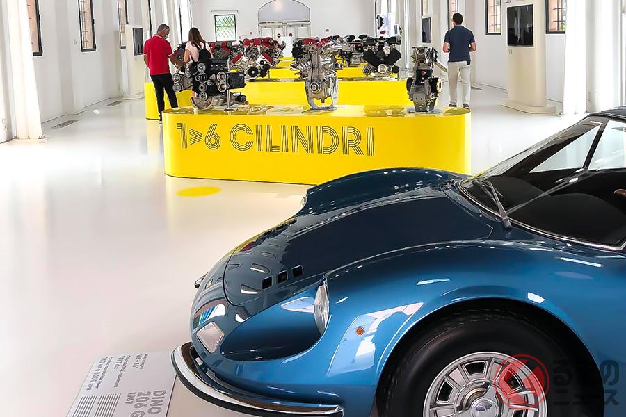 エンツォの生家をリニューアルしたエンツォ・フェラーリ・ミュージアムの建物では、歴代のフェラーリエンジンが展示されていた