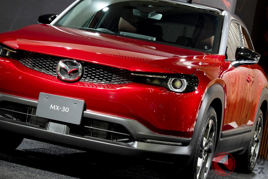 オートモービルカウンシル2020で公開された「MX-30(マイルドハイブリッドモデル)」プロトタイプ車両(国内仕様)