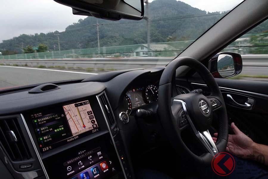 日産スカイライン「プロパイロット2.0」で高速道路をハンズオフ走行