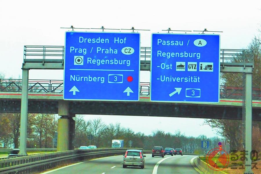有名なドイツの高速道路「アウトバーン」。もちろん右側通行