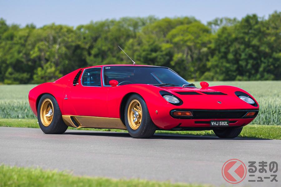 2億6000万円オーバーという高値で落札された、右ハンドル仕様の1972年型ランボルギーニ「ミウラP400SV」(C)SILVERSTONE AUCTIONS