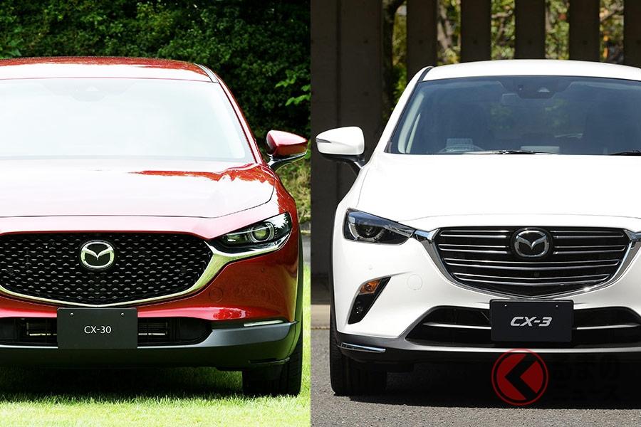 マツダの新型クロスオーバーSUV「CX-30」(左)とコンパクトSUV「CX-3」(右)