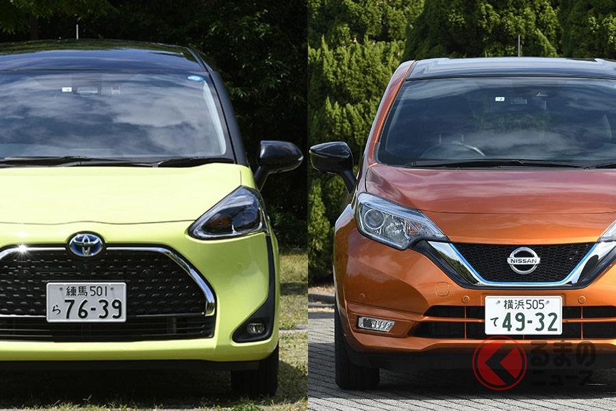人気ミニバンのシエンタ(左)と人気コンパクトカーのノート(右)