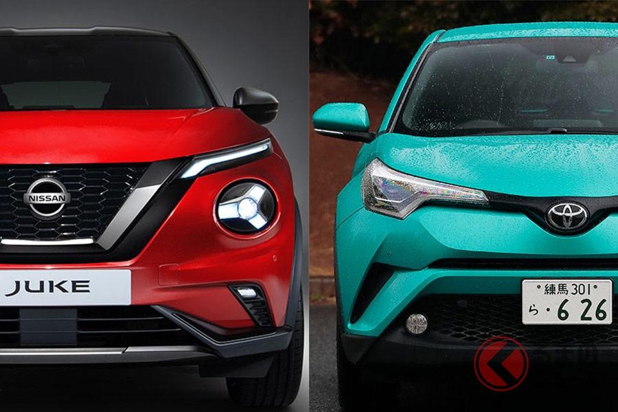 日産新型「ジューク」(左)とトヨタ「C-HR」(右)