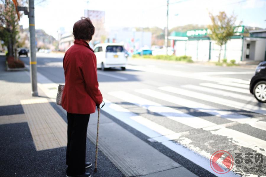 横断歩道を渡ろうとする歩行者のイメージ