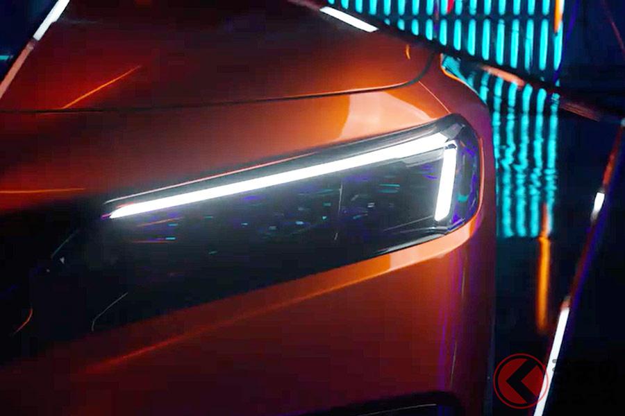 世界初公開に先駆けて公開された、新型シビックセダンのヘッドライト(公式動画より)