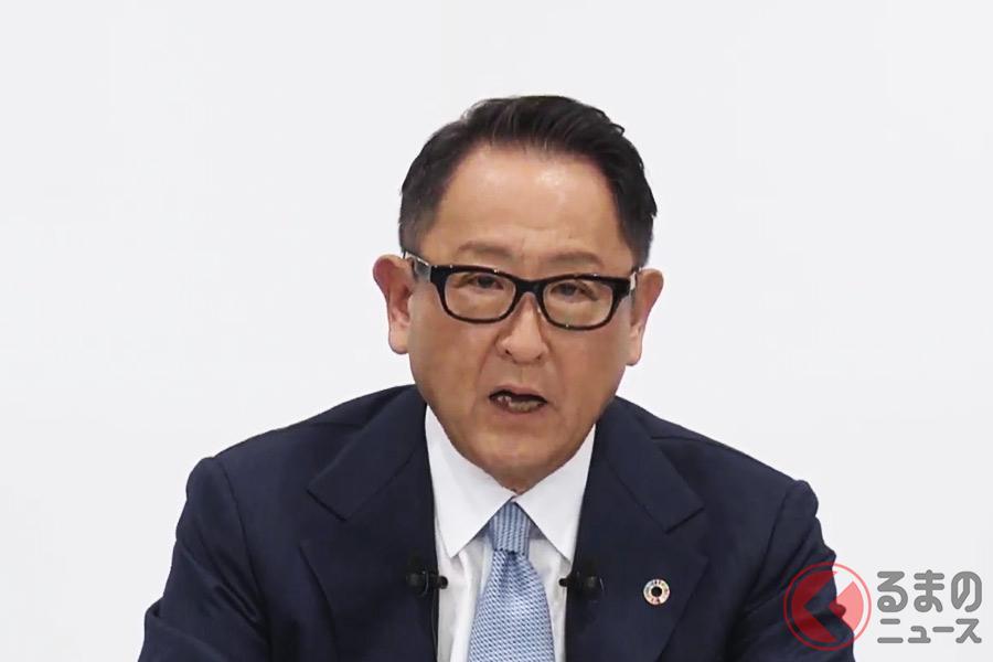 2020年11月6日におこなわれたトヨタの2021年3月期第2四半期決算説明会で発言する豊田章男社長