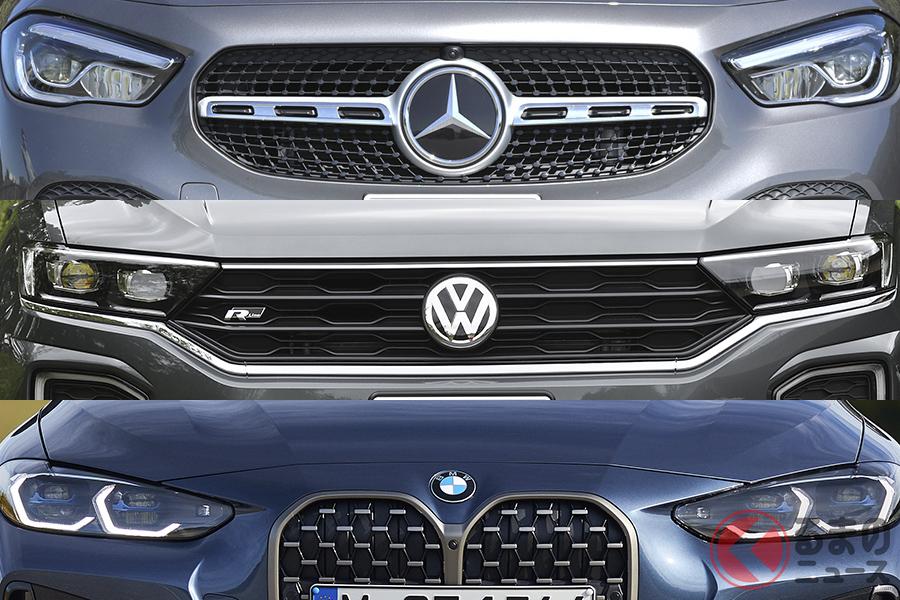 輸入車ブランドベストスリーのニューモデル。上からメルセデス・ベンツ新型「GLA」、VW「T-Roc」、BMW新型「4シリーズ」