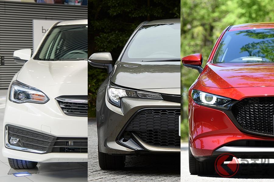 人気復活の5ドアハッチバック! (左からスバル「インプレッサスポーツ」、トヨタ「カローラスポーツ」、マツダ「マツダ3ファストバック」