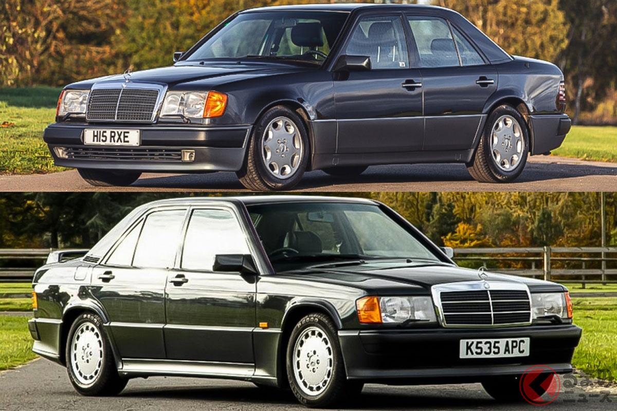 バブル時代に一世を風靡した2台のメルセデス・ベンツ。「500E」と「190E 2.5 コスワース」(C)SILVERSTONE AUCTIONS