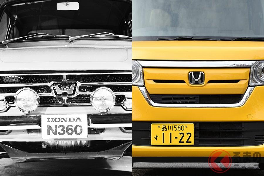 ホンダの軽自動車「Nシリーズ」(左:N360、右:N-BOX)