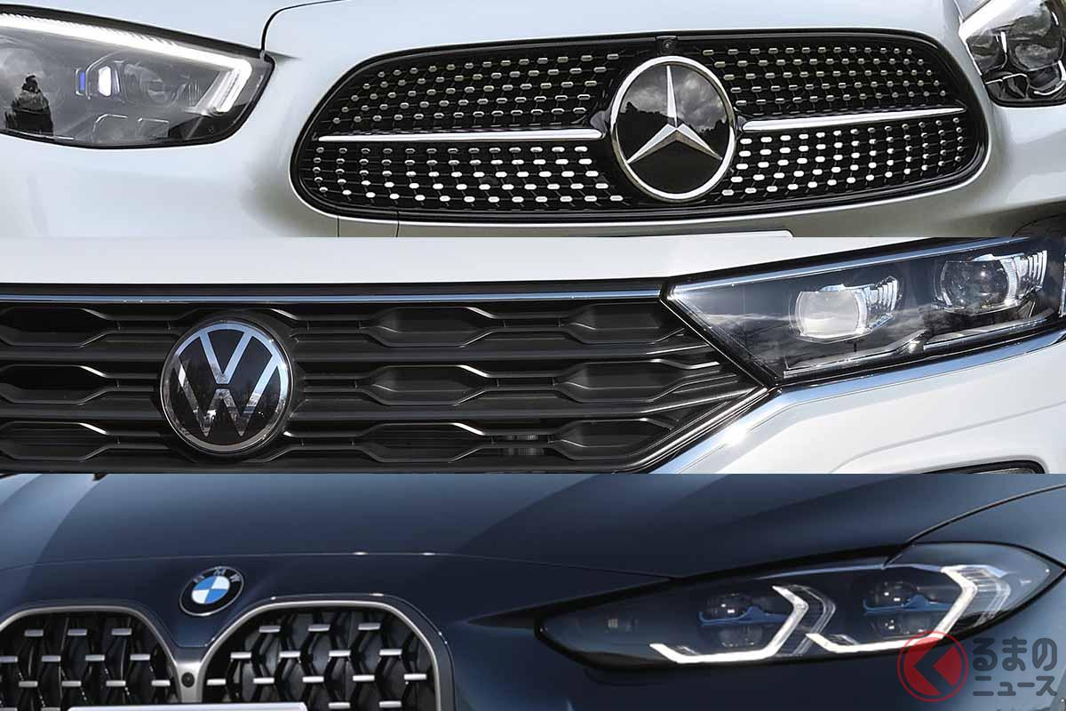 2020年の輸入車新規登録台数ベストスリーブランド。上から1位のメルセデス・ベンツ、2位のVW、3位のBMW