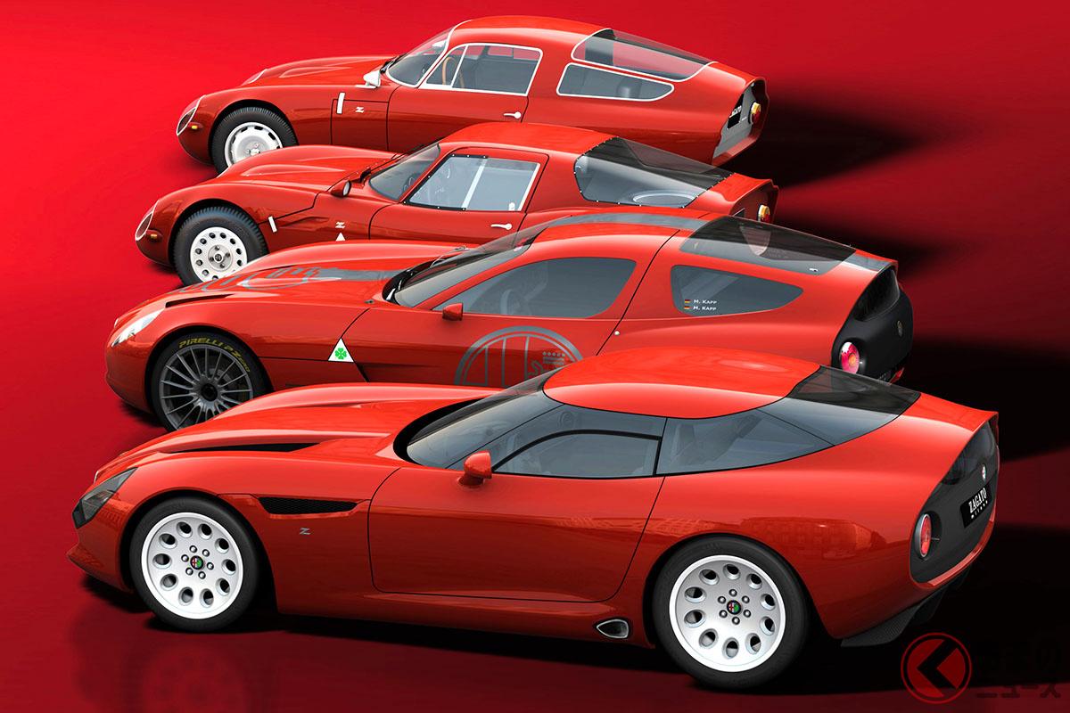 奥から「ジュリアTZ」(1963年)、「ジュリアTZ2」(1965年)、「TZコルサ」(2010年)、「TZ3ストラダーレ」(2011年)