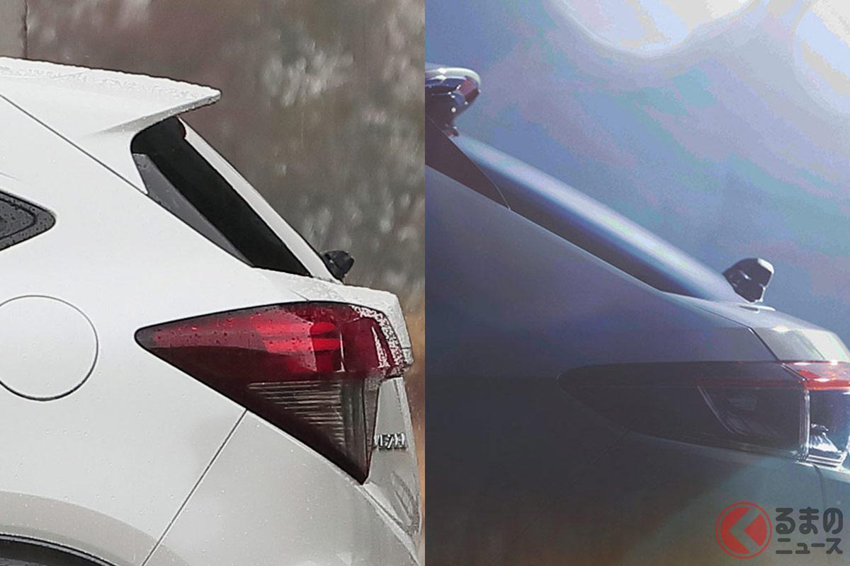 新型ヴェゼルへの関心高まる! 現行モデル(左)と新型モデル(右)ではCピラーの形状が異なっている。