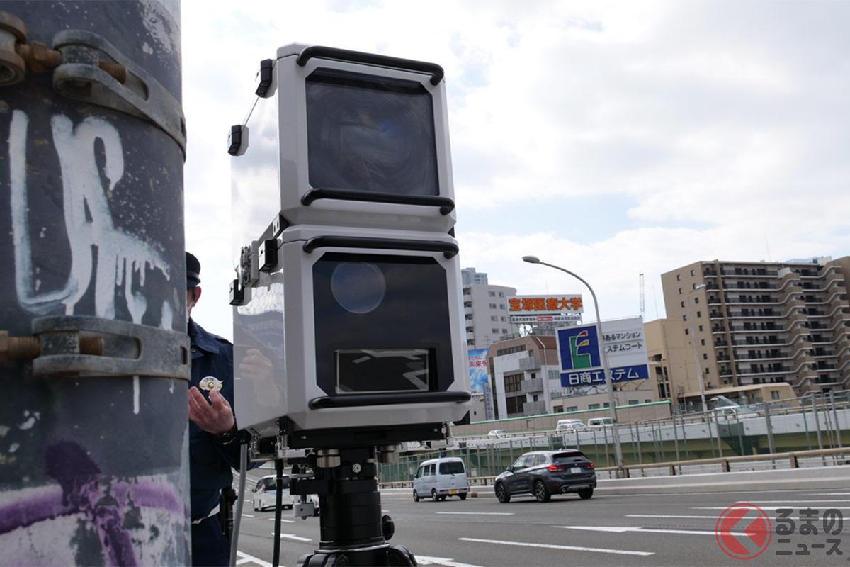 大阪市内で目撃された新型オービス。探知機がほぼ感知しない仕様に変更されている?(提供:オービスガイド)
