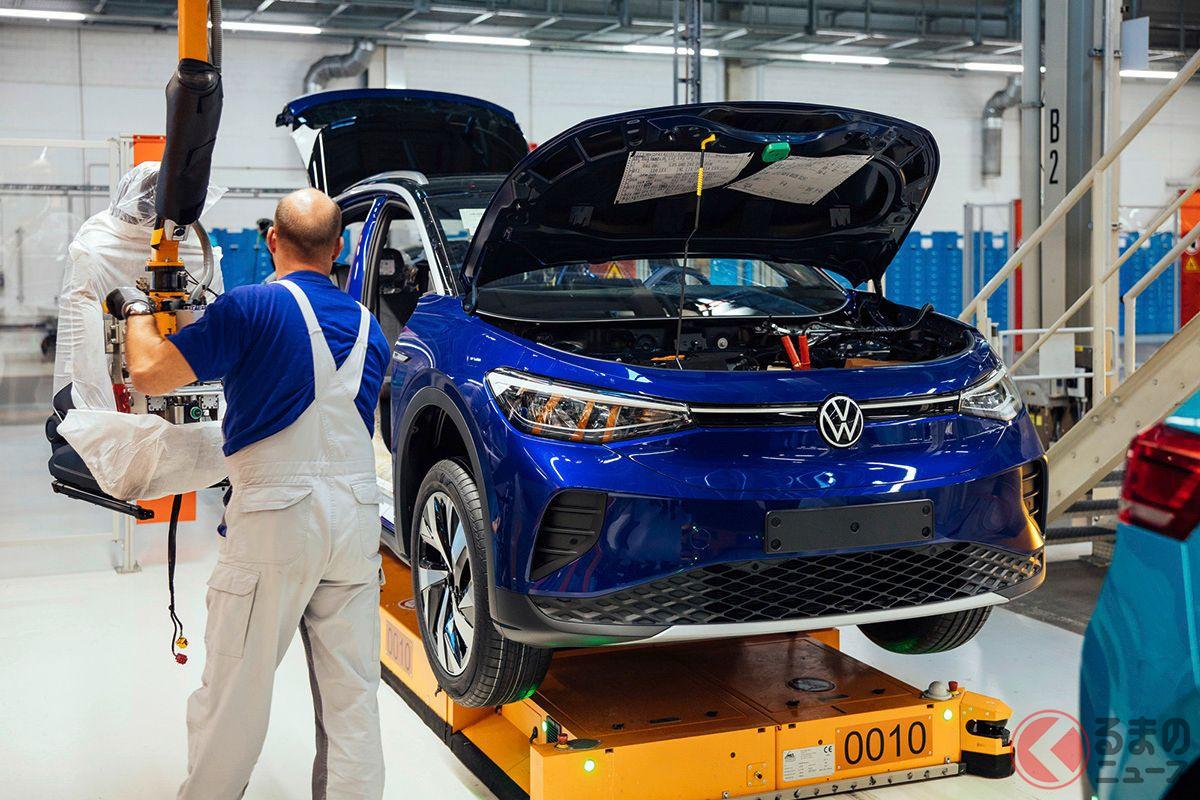 VWツヴィッカウ工場(ドイツ)での「ID.4」生産風景