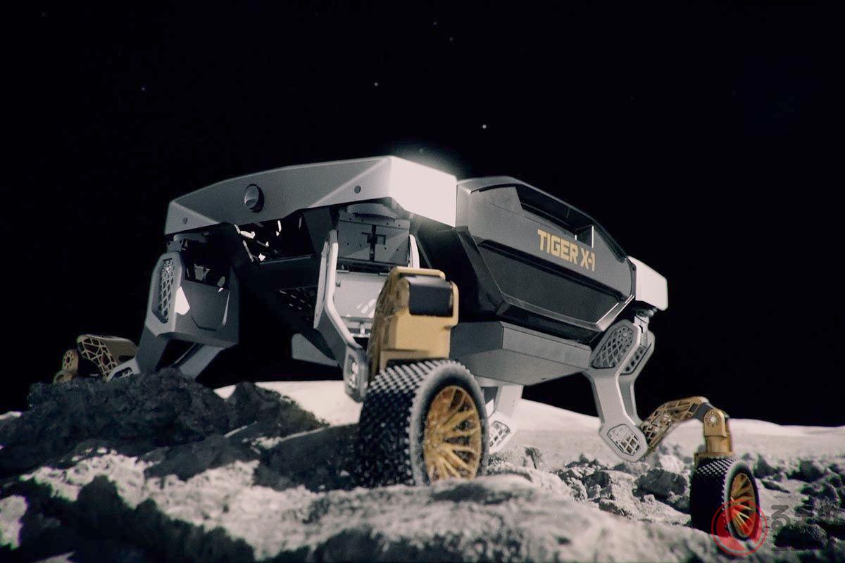 ヒュンダイのコンセプトUMV「TIGER」。ガレ場でも足を伸ばして車体の水平を保ち、立ち往生を解消するという