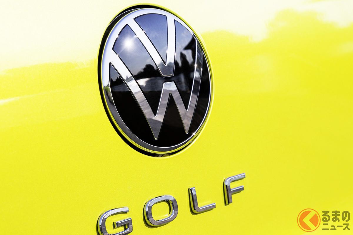 新型ゴルフのエンブレム。2021年に日本上陸するニューモデルは、すべてこの新しいVWエンブレムになる