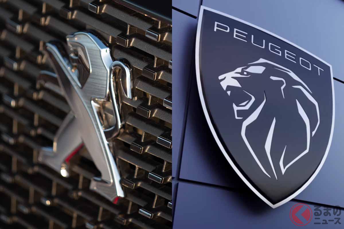 プジョーの現行ロゴ(左)と新ロゴ(右)