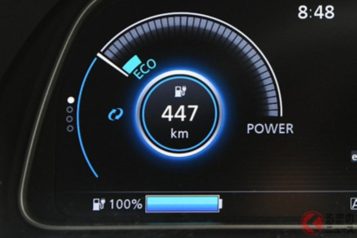 電気自動車はどれほどの航続距離があれば妥当なのか?画像はリーフ(62kWh仕様)満充電状態で447km