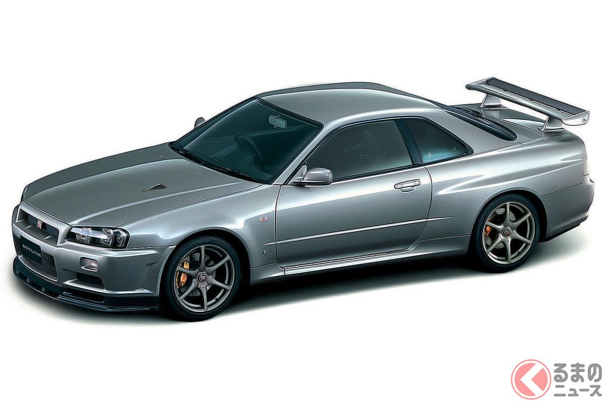 もはや新車価格の5倍近い値段となった「R34型 スカイラインGT-R」(画像は「VスペックIIニュル」)