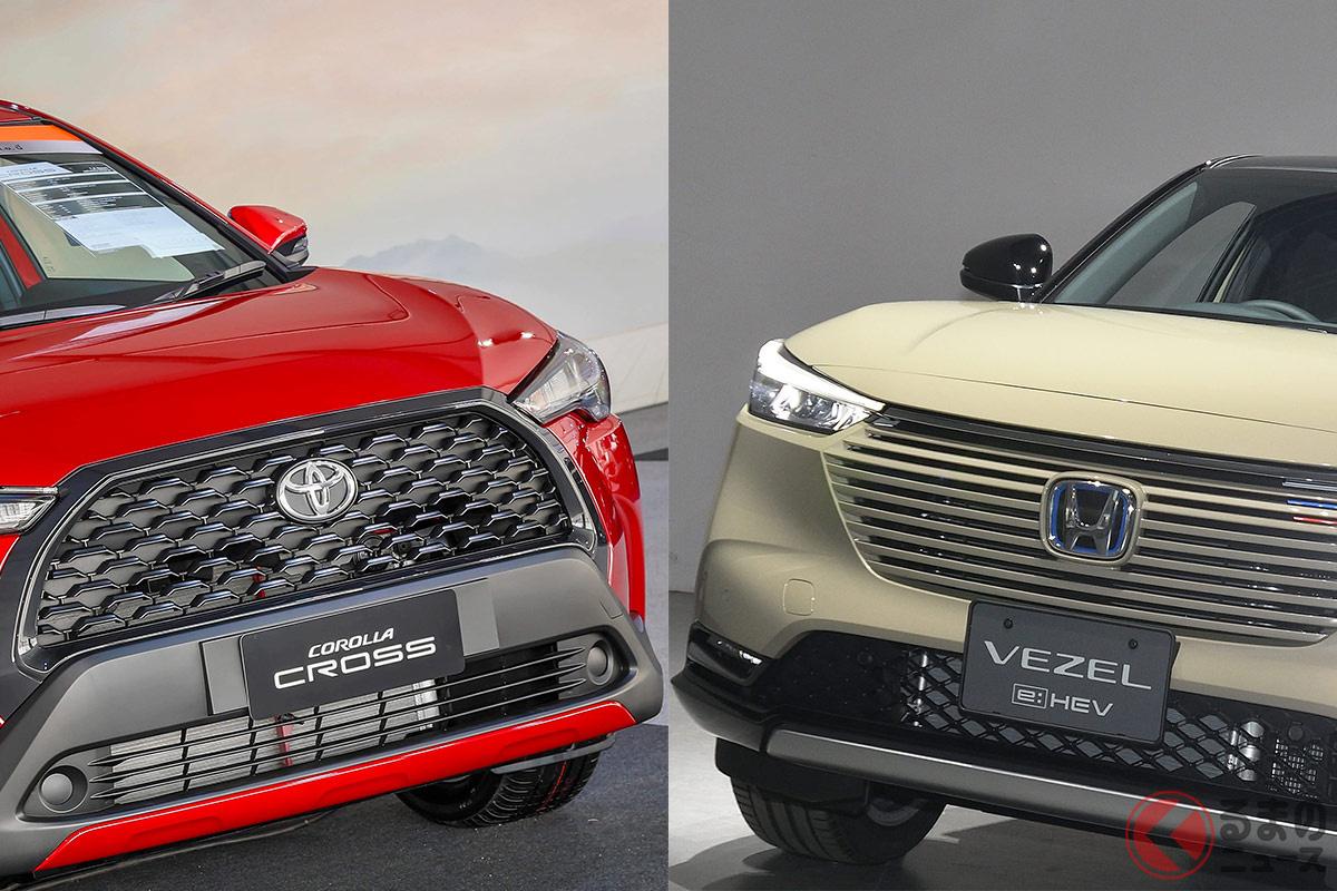 日本導入が噂されるトヨタ「カローラクロス(左)」:と4月発売のホンダ新型「ヴェゼル」