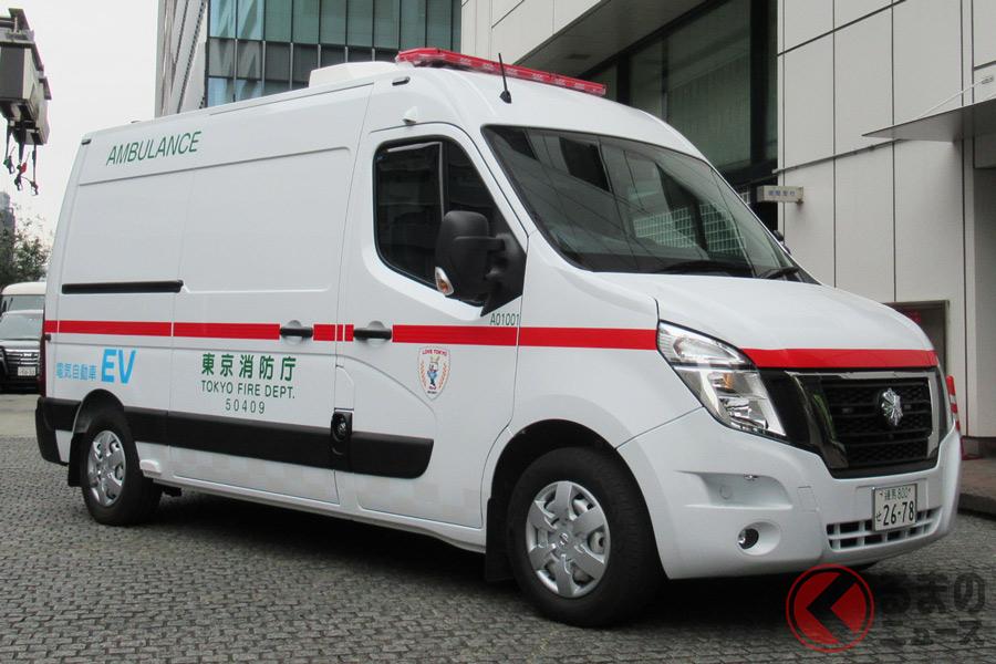 東京消防庁が導入した「NV400」ベースのEV救急車