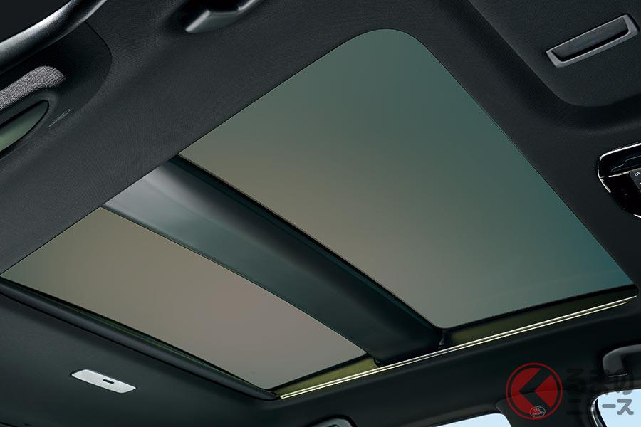 トヨタ新型ハリアーに採用される「電動シェード付パノラマルーフ」。オプション価格は約19万円。