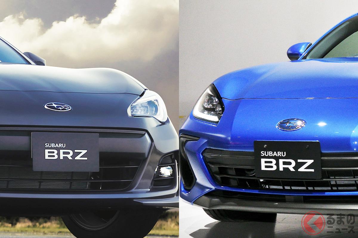 スバルの初代「BRZ」(写真左)と新型の「BRZ」(写真右)
