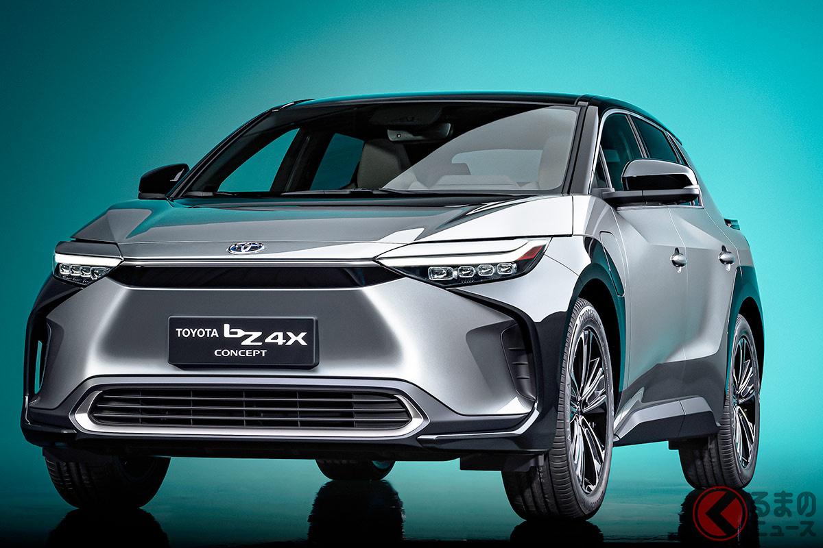 トヨタが上海モーターショー2021にて世界初公開した新型電気自動車となる新型「bZ4X(トヨタ ビーズィーフォーエックス)」