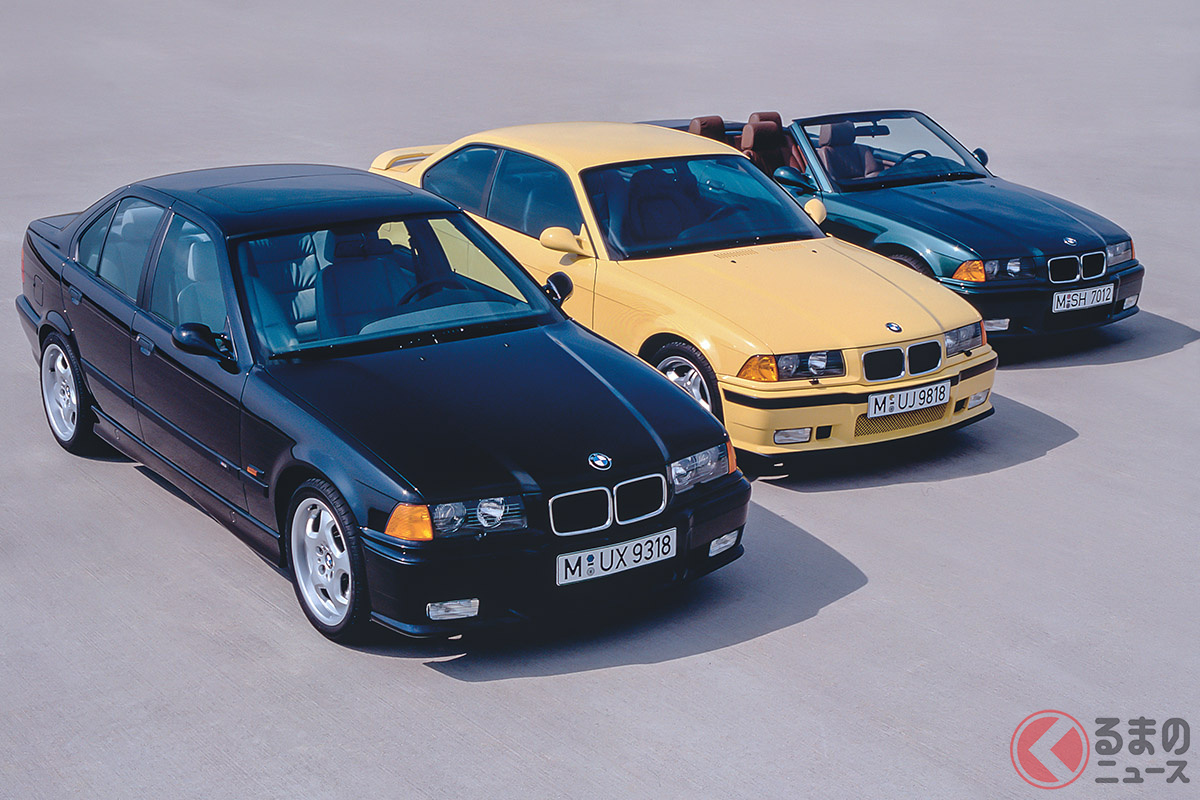 E36型はM3の歴史でもっとも大規模なアップデートが施されたモデル。ボディはピラーを少し寝かせた落ち着きのあるクーペ風へ、エンジンも全車DOHC化されている(C)BMW AG