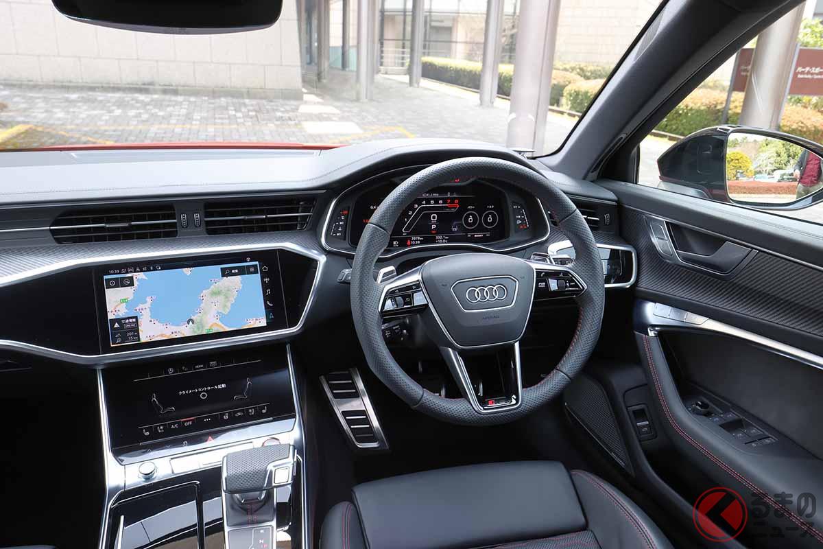 アウディ改良新型「RS6アバント」のインパネ。試乗車はオプションのBang&Olfsen 3Dアドバンストサウンドシステム(78万円)を装備